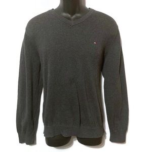 Tommy Hilfiger Men's Gray V-Neck Sweater